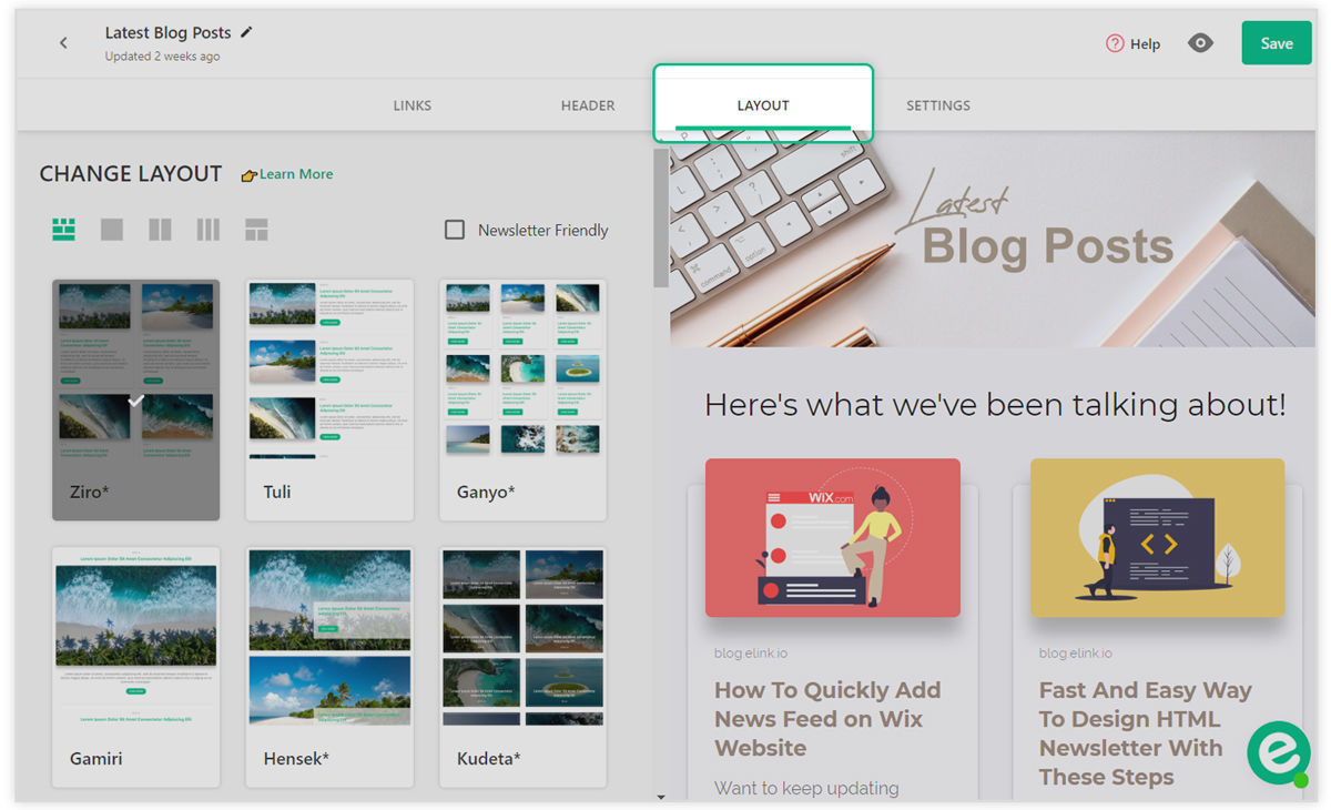 Preview of selecting a layout for newsfeed webpage